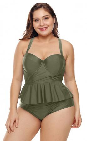 Plus-Size Green Split Swimsuit