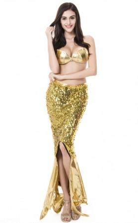Sexy Sequin Glitter Golden Mermaid Evening Dress