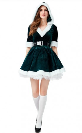 Christmas Costume Velvet Dark Green V-neck Bubble Hooded Dress