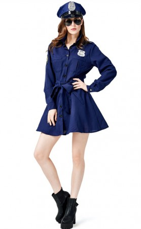 Halloween Dark Blue Patrol Officer Costume