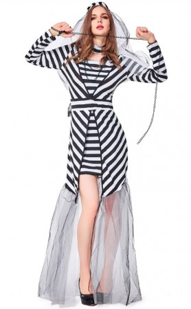 Halloween Sexy Prisoner Black And White Costume