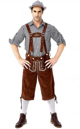 German Oktoberfest Traditional Men's Plaid Beer Costumes