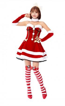 Sleigh Hottie Christmas Costume Princess Christmas Red Strapless Dress