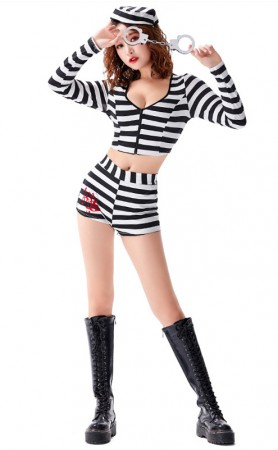 Halloween Women Sexy Convict Costume