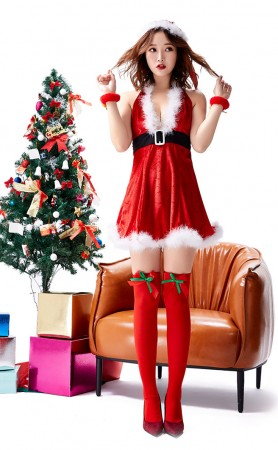 V-Neck Sexy Halter Christmas Mini Skirt