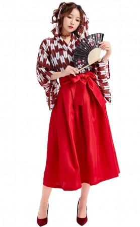 Japanese Loli Printed Pleated Skirt Kimono