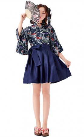 Japanese Printed Pleated Skirt Kimono