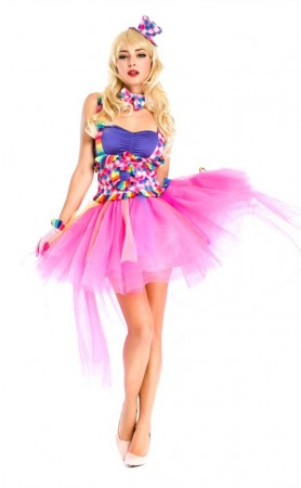 Ladies Circus Jester Clown Fancy Dress Princess Halloween Costume Outfit
