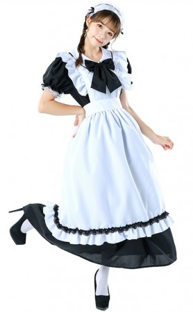 Vintage Long Maid Lace Black And White Halloween Costume