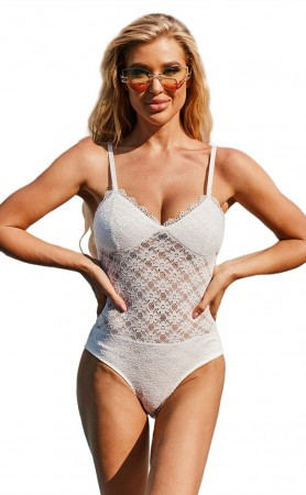 Sexy Strap Bikini White Lace One-Piece Swimsuit