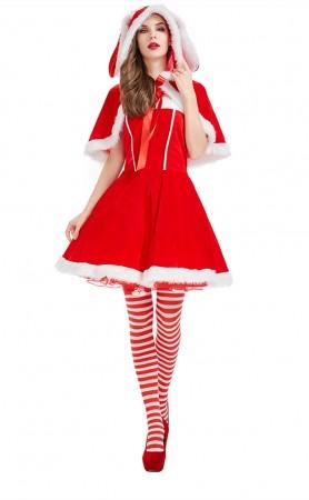 Christmas Red Plush Rabbit Skirt
