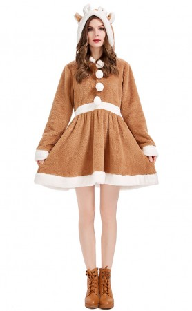 Christmas Cosplay Cute Elk Khaki Women's Pajamas