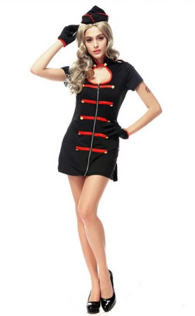 Sexy Girl Black and Red Trim Nurse Costume