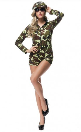 Halloween Party Female Drillmaster Camouflage Dress