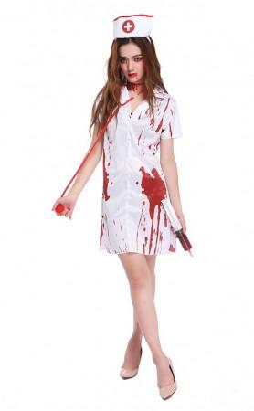 Halloween Bloody Short Sleeve Halloween Nurse Costume White