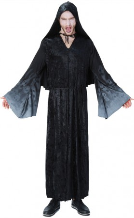 Halloween Cosplay Black Skeleton Wizard Costume