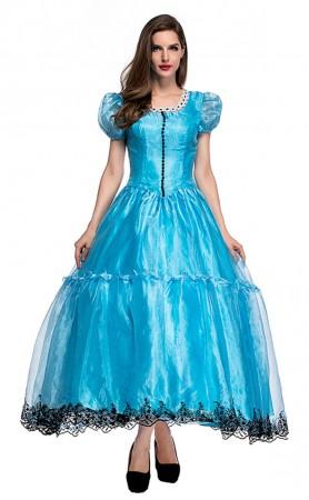 Halloween Alice Princess Dress Wonderland Blue Gown