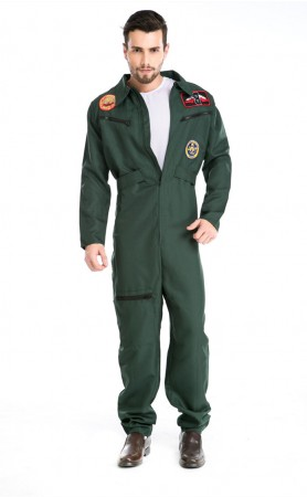 Halloween Mens US Navy Flight Suit Costume Wingman Jumpsuit