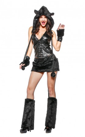Halloween Deluxe Black Furry Cat Corset Costume