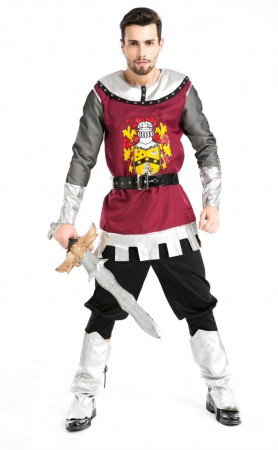 Mans Medieval Mercenary Dark Knight Carnival Costumes