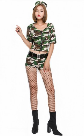 Halloween Army Green Camouflage Agent Suit