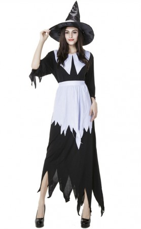 Halloween Costume Witch Dress Irregular Long Section