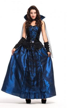 Halloween Party Cosplay Blue Enchantress Vampire Queen Dress