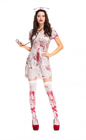 Halloween Scary Bloody Sexy Uniform Nurse Costume