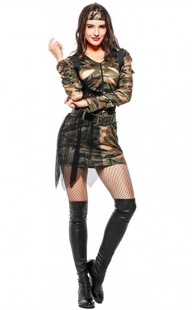 Army Lady Womens Camouflage Fancy Dress Theme Party Complete Outfit