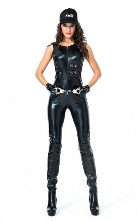 Halloween Patent Leather Trim Policewoman Costume