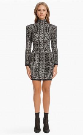 Short Bicolor Jacquard Knit Dress