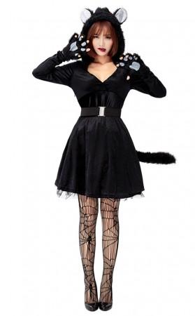 Halloween Animal Cosplay Black Cat Hooded Net Gauze Puffy Dress