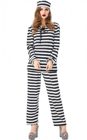Halloween Prisoner Cosplay Black And White Striped Female Prisoner