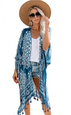 Hawaiian Seaside Vacation Tassel Coat Sunscreen Suit
