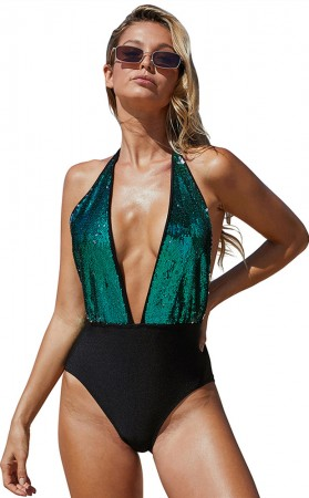 Summer Sexy V-Neck Open Back High Waist One-Piece Swimsuit