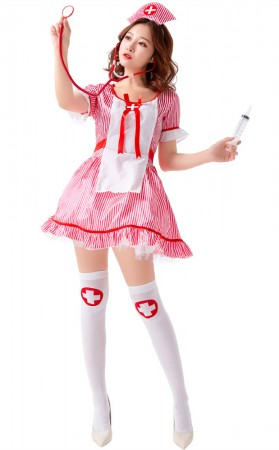 Cosplay Sexy Naughty Pink Nurse Halloween Costume