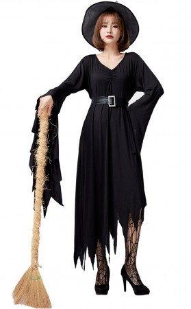 Halloween Black Irregularity Witch Long Dress