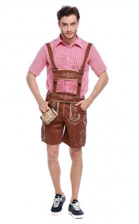Men's Red Plaid Oktoberfest Party Bavarian Garment