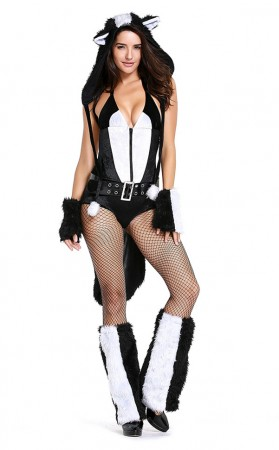 White and Black Skunk Bear Corset Halloween Costume
