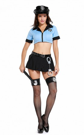 Halloween Sexy Blue Knotted Sexy Cops Costume