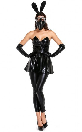 Halloween Sexy Patent Leather Bunny Babe Costume
