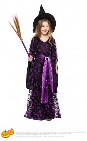 Halloween Purple Mesh Witch Kids Costume