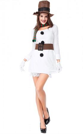 Christmas Party Ladies White Christmas Snowman Costume