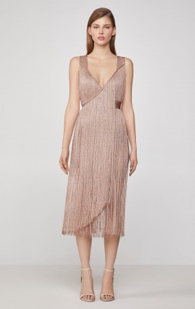 Herve Leger Metallic Fringe Midi Dress