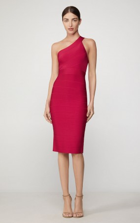 Herve Leger Icon One Shoulder Sheath Dress