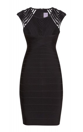 Herve Leger Deanna Tulle Applique Dress Black