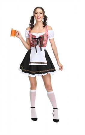 Oktoberfest Dress Red Plaid Off-Shoulder Dirndl Dress