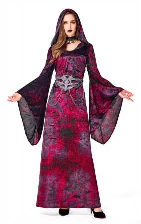 Halloween Costume Bell sleeve Witch Dress Up Maxi Dress