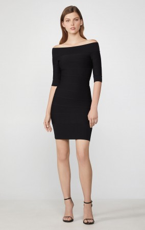 Herve Leger Icon Off-The-Shoulder Dress