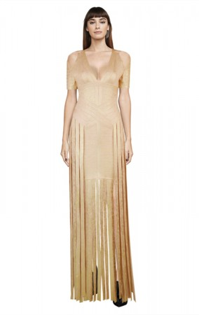 Herve Leger Bandage Dress Gown V Neck Tassels Gold